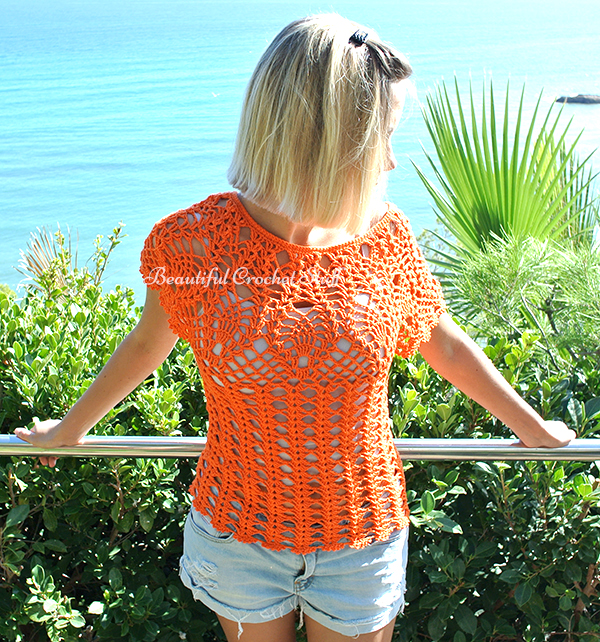 Orange Pineapple Crochet Top